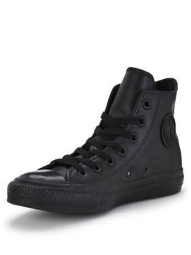Converse Chuck Taylor All Star Leather Hi-Tops, Black/Black, Size 3, Women