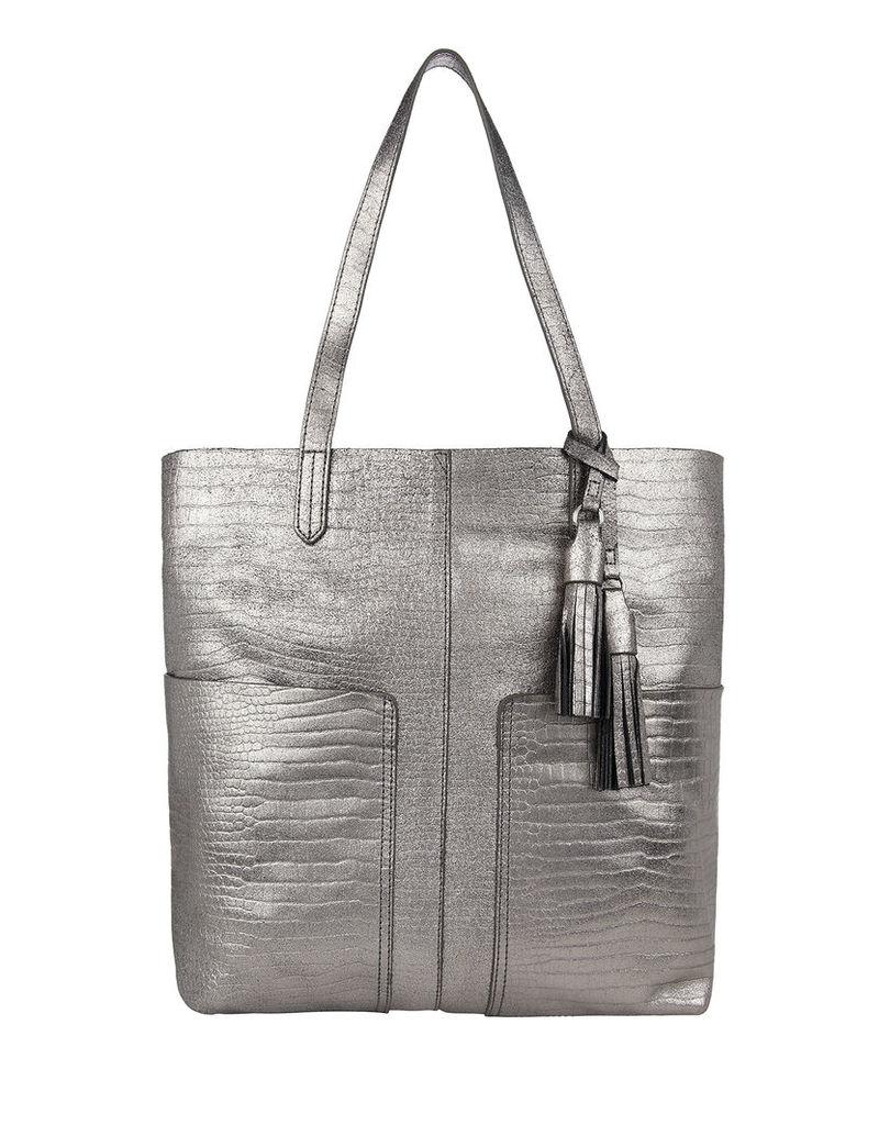 Leather Croc Double Pocket Shopper Bag