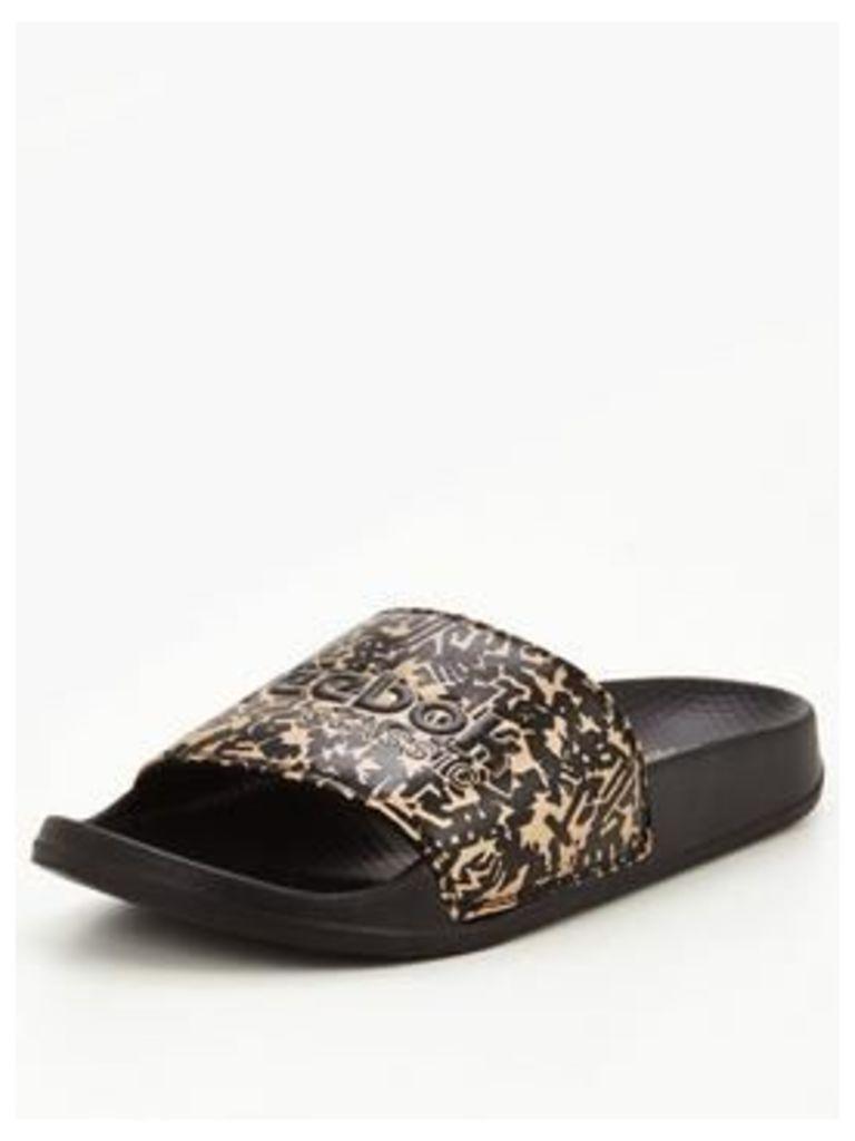 Reebok Classic Slider Sandals - Black/Gold , Black/Gold, Size 6, Women