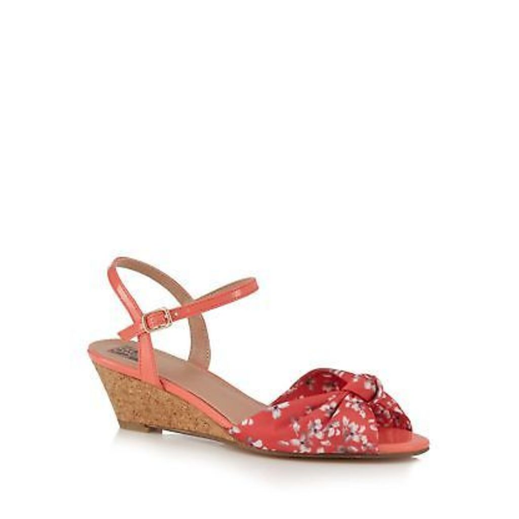 The Collection Orange 'Claudia' Mid Wedge Heel Ankle Strap Sandals