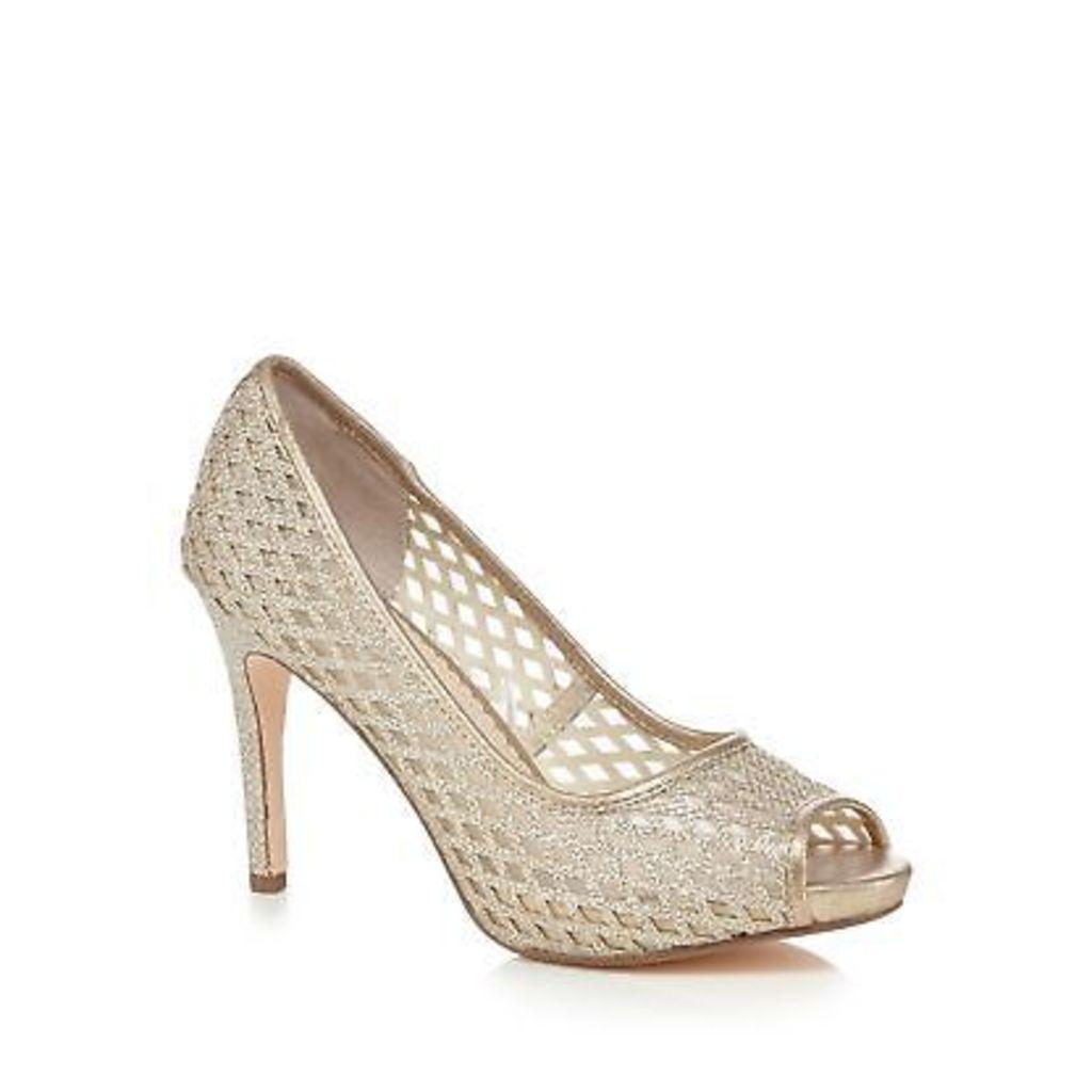 Debut Gold High Stiletto Heel Peep Toe Shoes From Debenhams