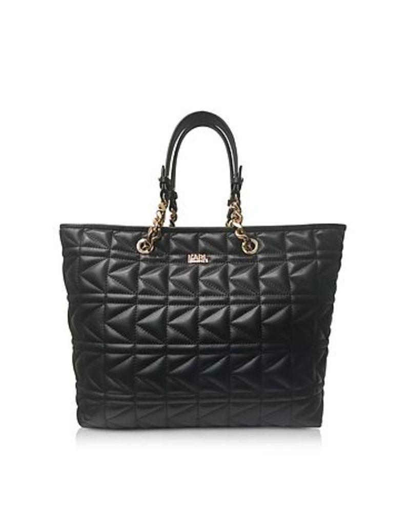 Karl Lagerfeld - K/Kuilted Black Leather Tote Bag