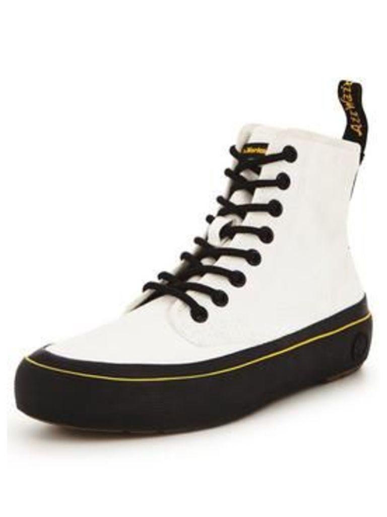 Dr Martens Dr Marten Monet 8 Eye Boot, White/Black, Size 6, Women
