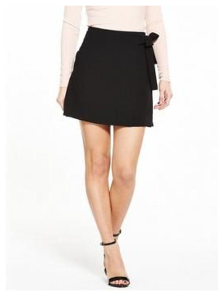 V by Very Petite PETITE Tie Detail Skirt - Black, Black, Size 10, Women