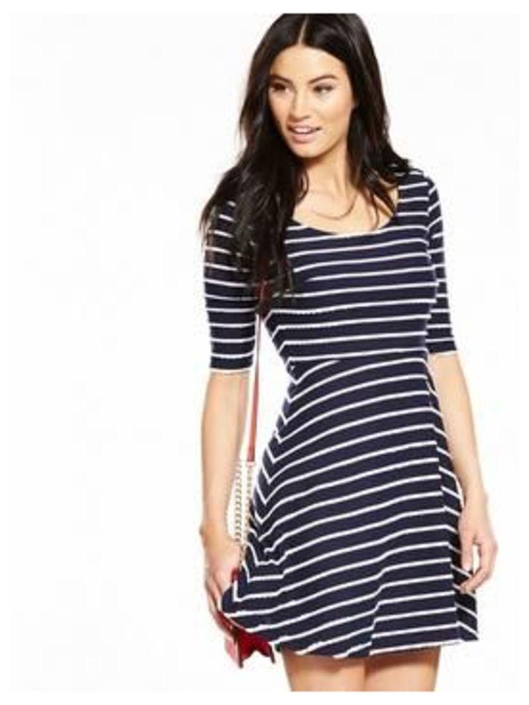 V by Very Scallop Jersey Skater Dress, Navy/White, Size 18, Women