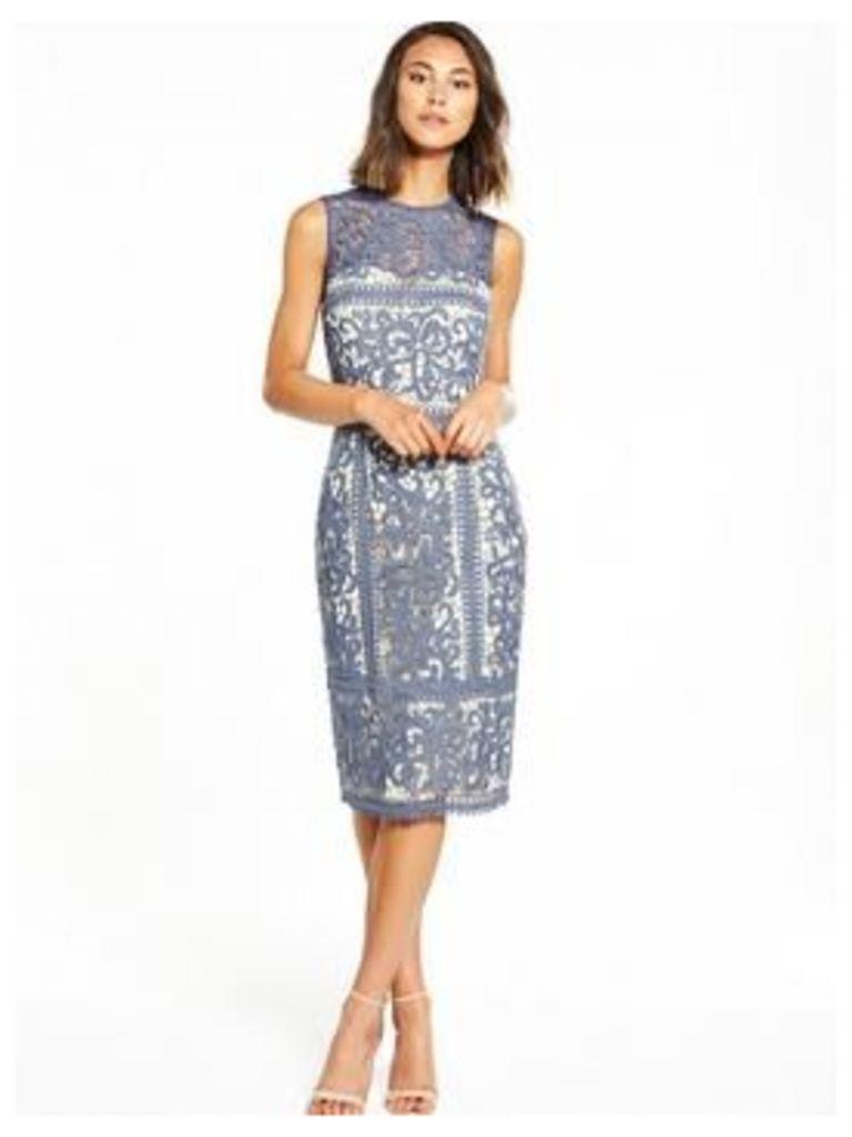 Little Mistress Midi Floral Crochet Dress, Grey, Size 10, Women