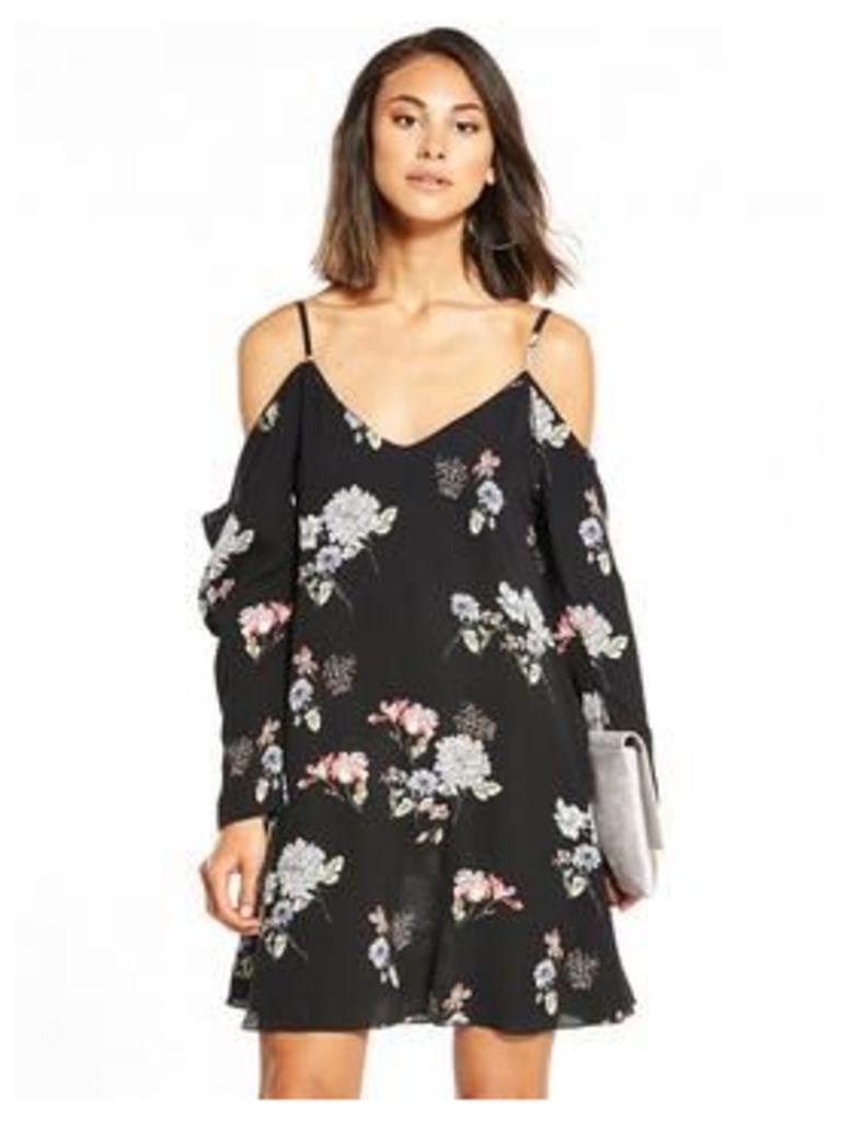 AX Paris Cold Shoulder Swing Dress, Black, Size 12, Women