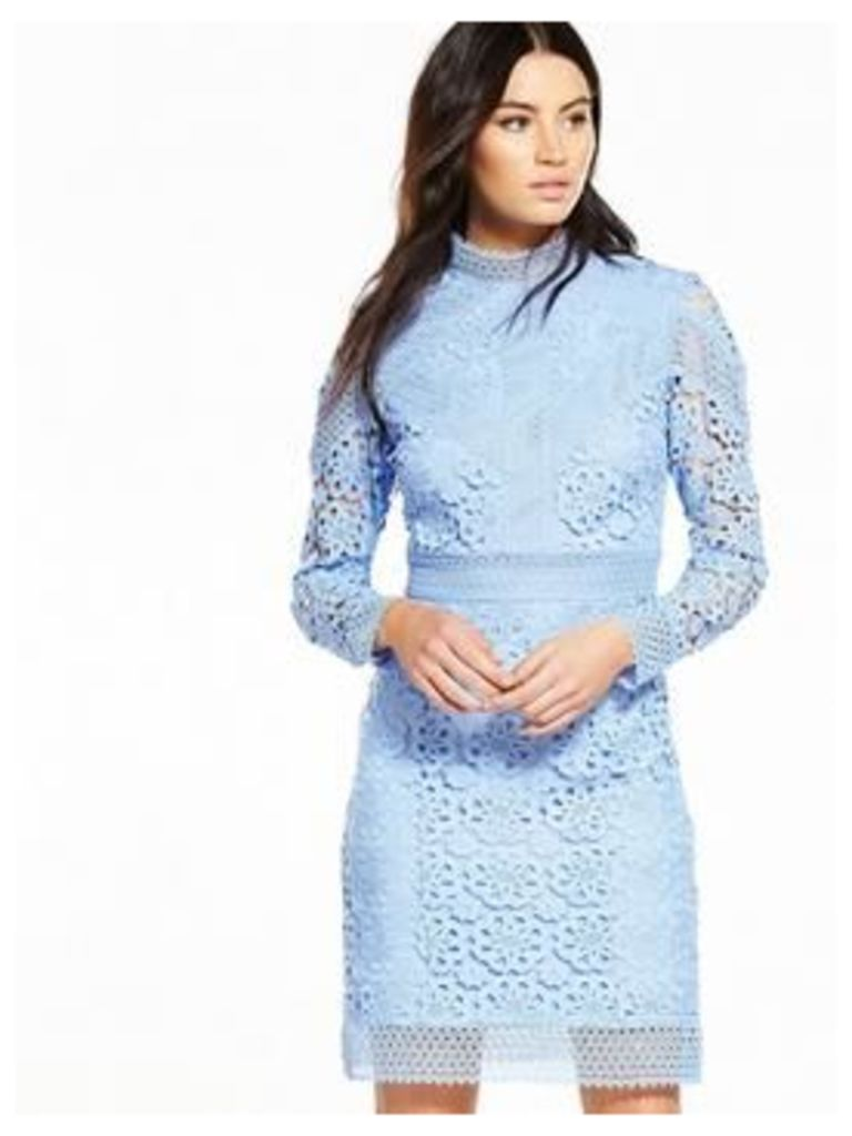 V by Very PREMIUM Lace Shift Dress - Soft Blue, Soft Blue, Size 14, Women