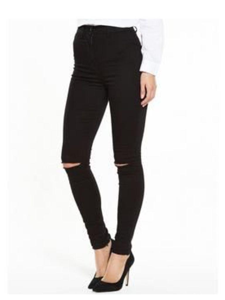 V by Very PETITE Addison Slash Knee High Waisted Skinny Jean, Black, Size 12, Inside Leg Short, Women
