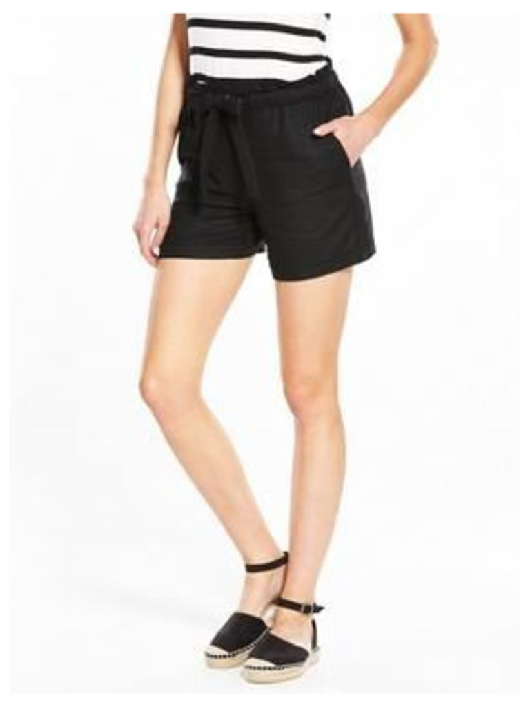 V by Very Linen Mix Shorts, White, Size 10, Women