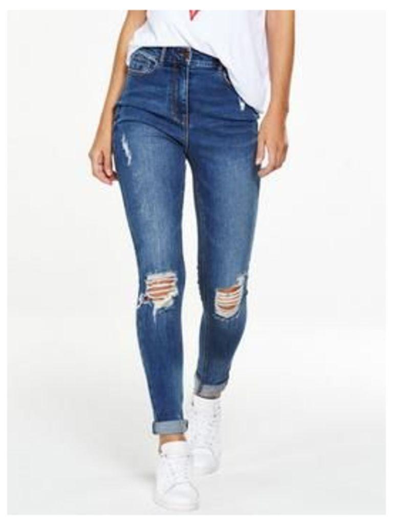 V by Very Tall Ella High Waist Rip Skinny, Mid Vintage, Size 16, Inside Leg Xlong, Women