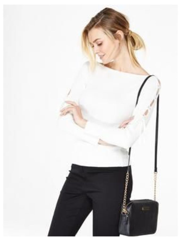 V by Very Lace Up Shoulder Slash Neck Jumper, Ivory, Size 16, Women