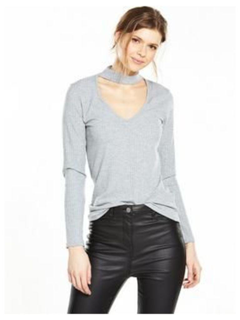 V by Very Choker Rib Long Sleeve Top, Black, Size 12, Women