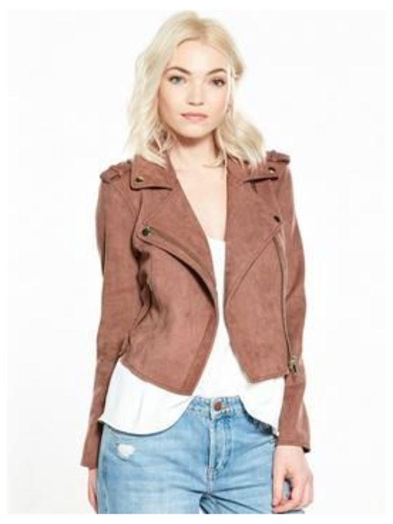 RI Petite Suedette Biker Jacket, Pink, Size 12, Women