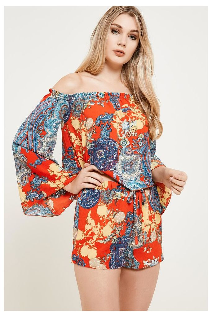 Brand Attic Boho Print Shorts - Orange