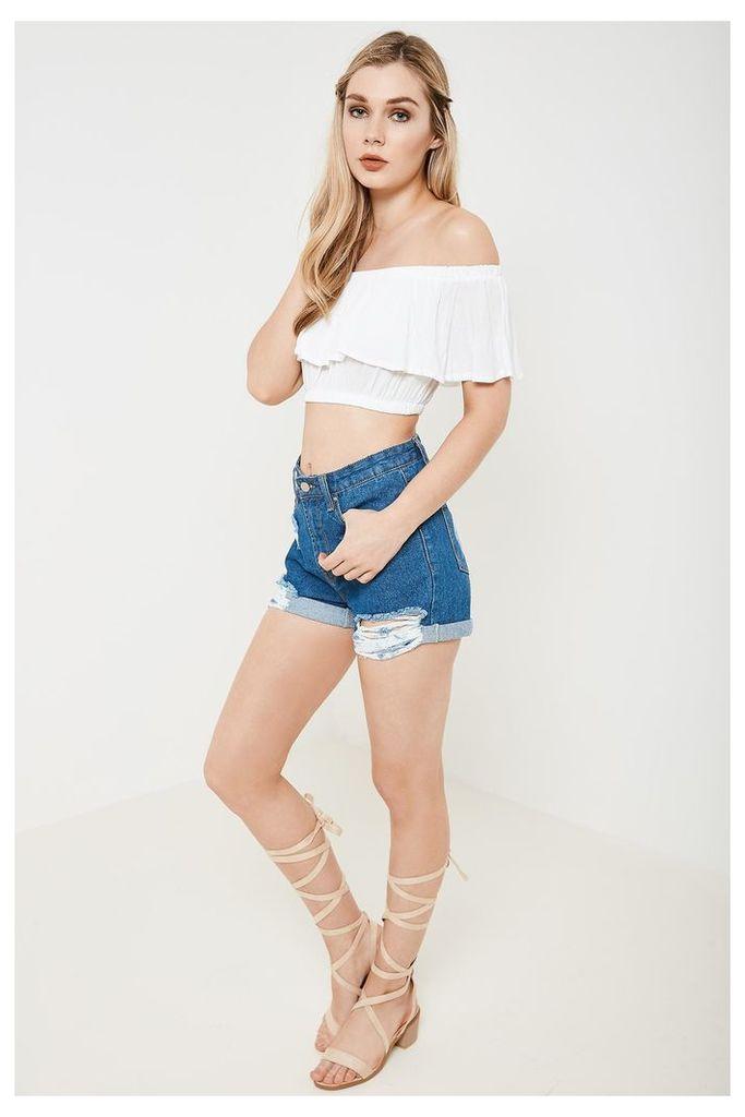 Brand Attic Ripped Denim Shorts - Blue