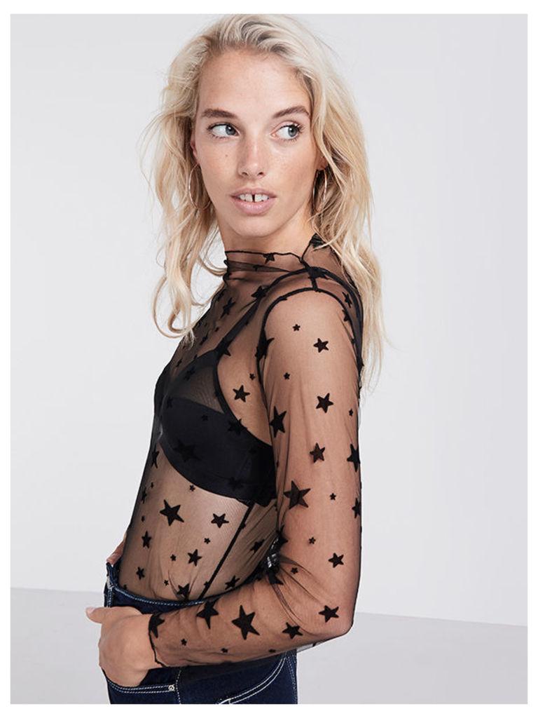 Black Star Mesh Long Sleeve Top
