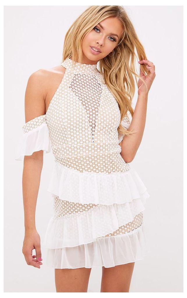 White Crochet Mesh Frill Detail Bodycon Dress
