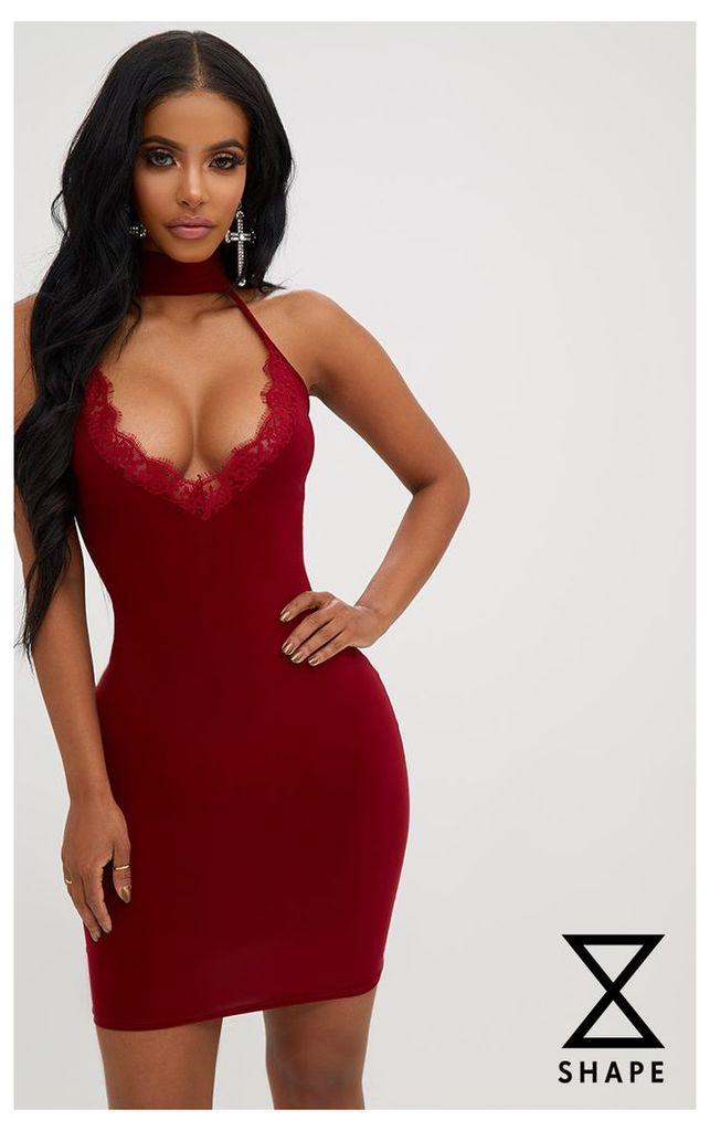 Shape Burgundy Lace Trim Plunge Choker Dress