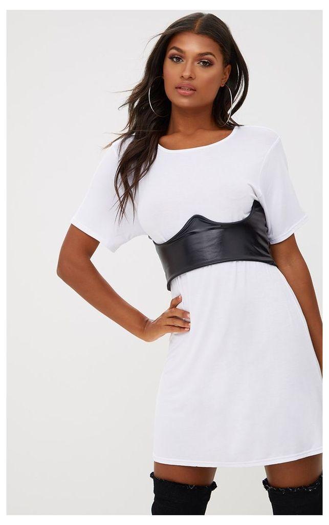 White Contrast Corset Detail T Shirt Dress