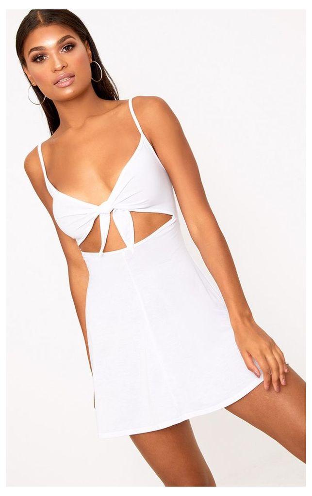 White  Cut Out Swing Dress