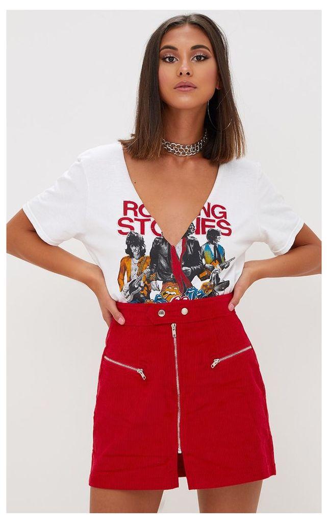 Red Cord Zip Up Mini Skirt