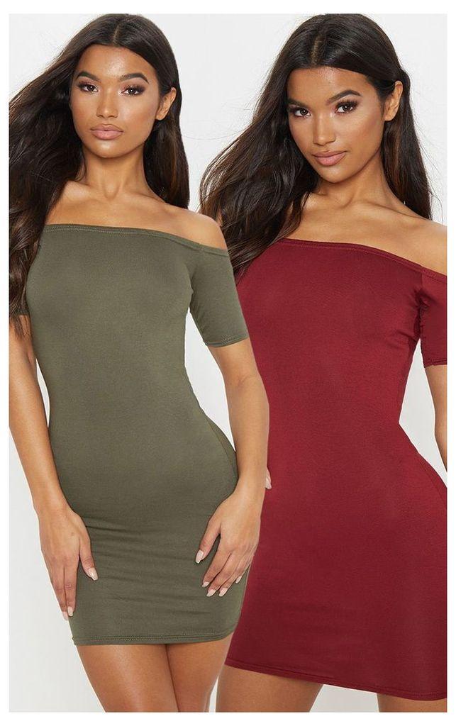 2 Pack Burgundy & Khaki Basic Bardot Bodycon Dress