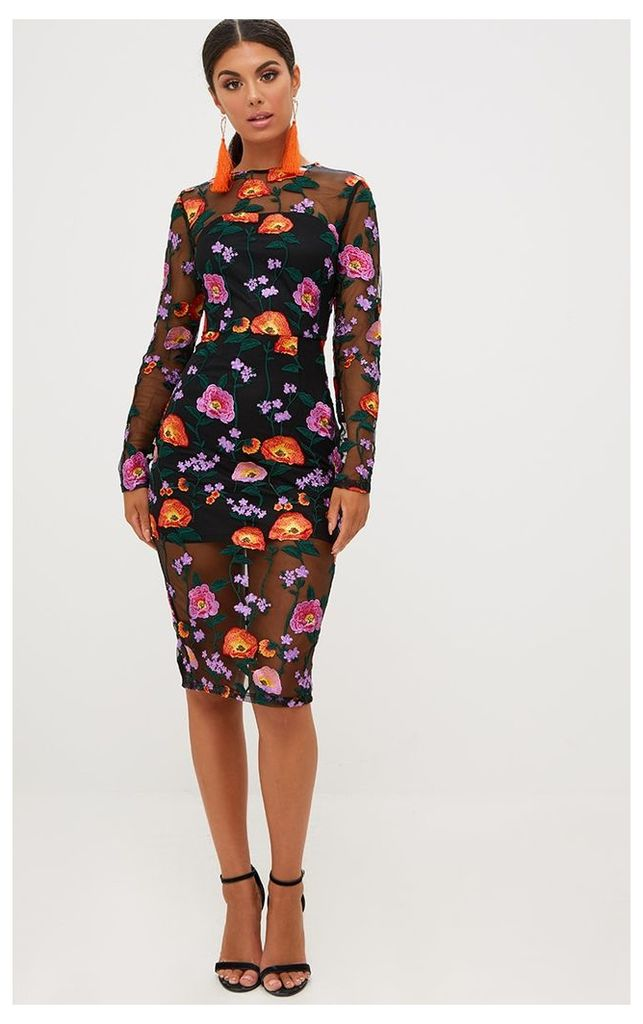 Orange Embroidered Floral Sheer Lace Midi Dress
