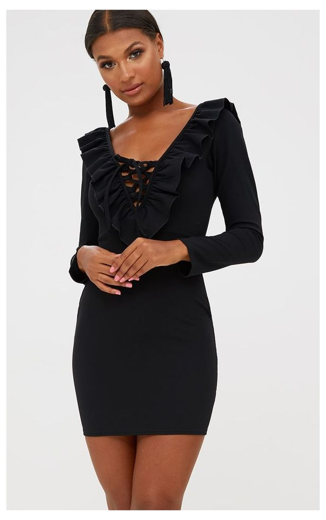Black Frill Detail Lace Up Bodycon Dress