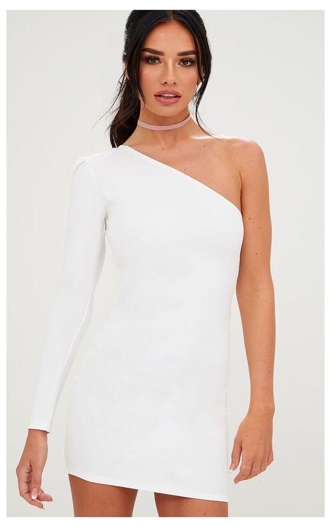 White One Shoulder Puff Detail Bodycon Dress