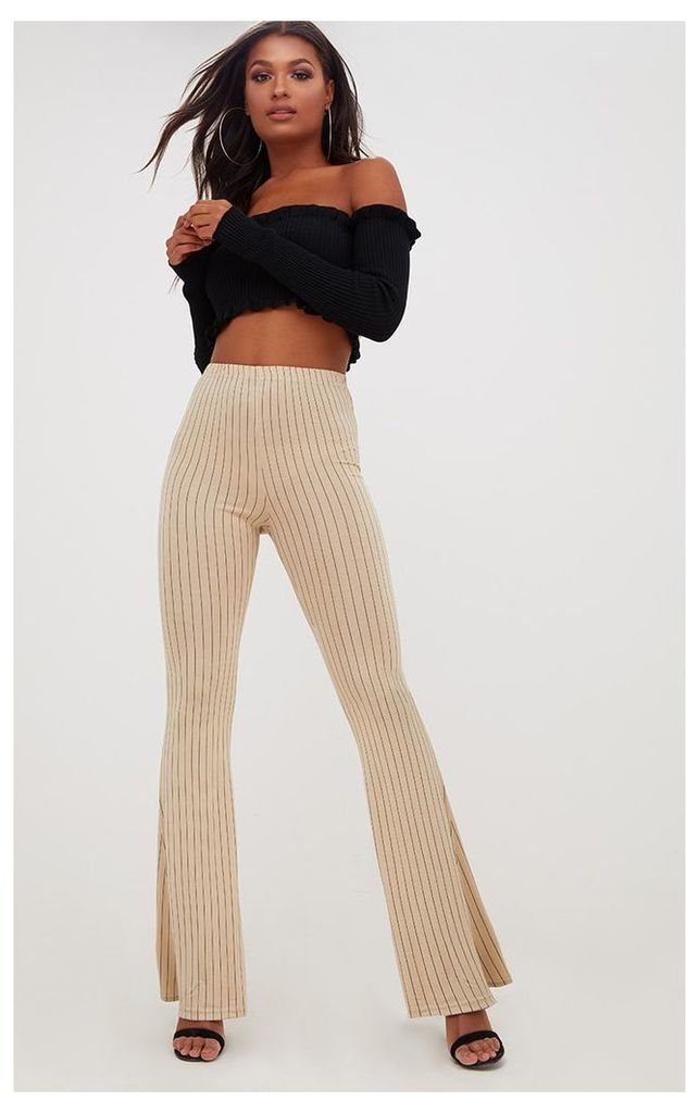 Stone Jersey Pinstripe Flared Trousers