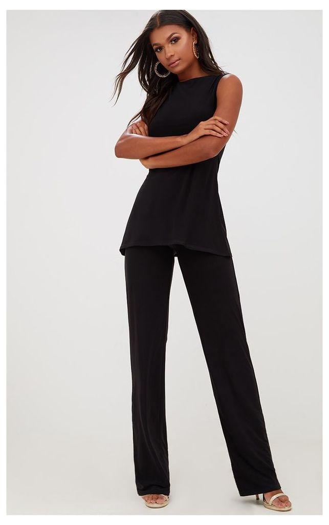 Black Double Layer Slinky Wide Leg Trousers