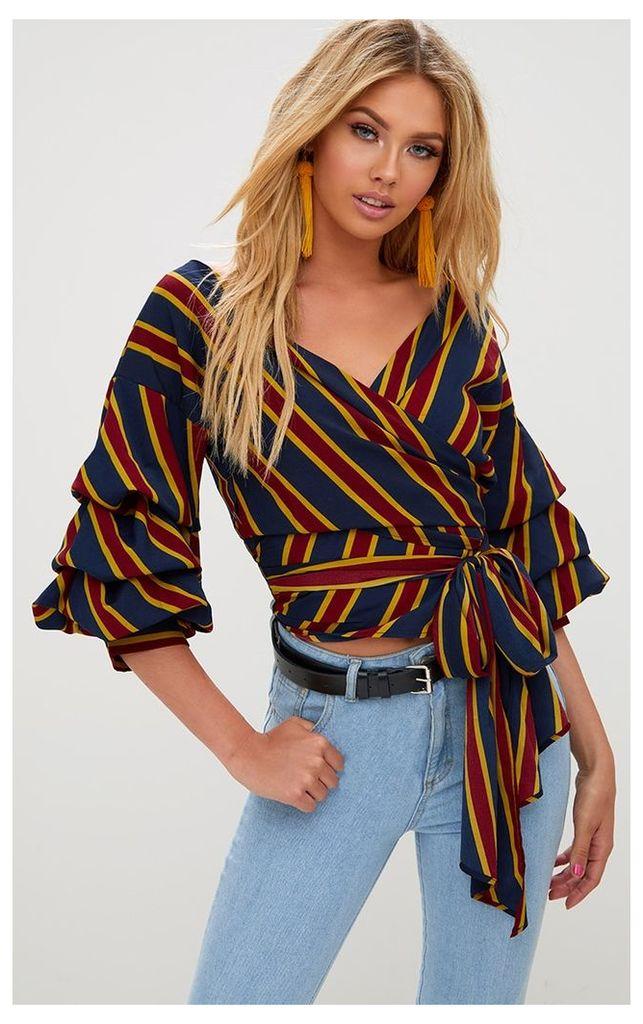 Burgundy Stripe Oversized Ruffle Sleeve Low Shoulder Shirt