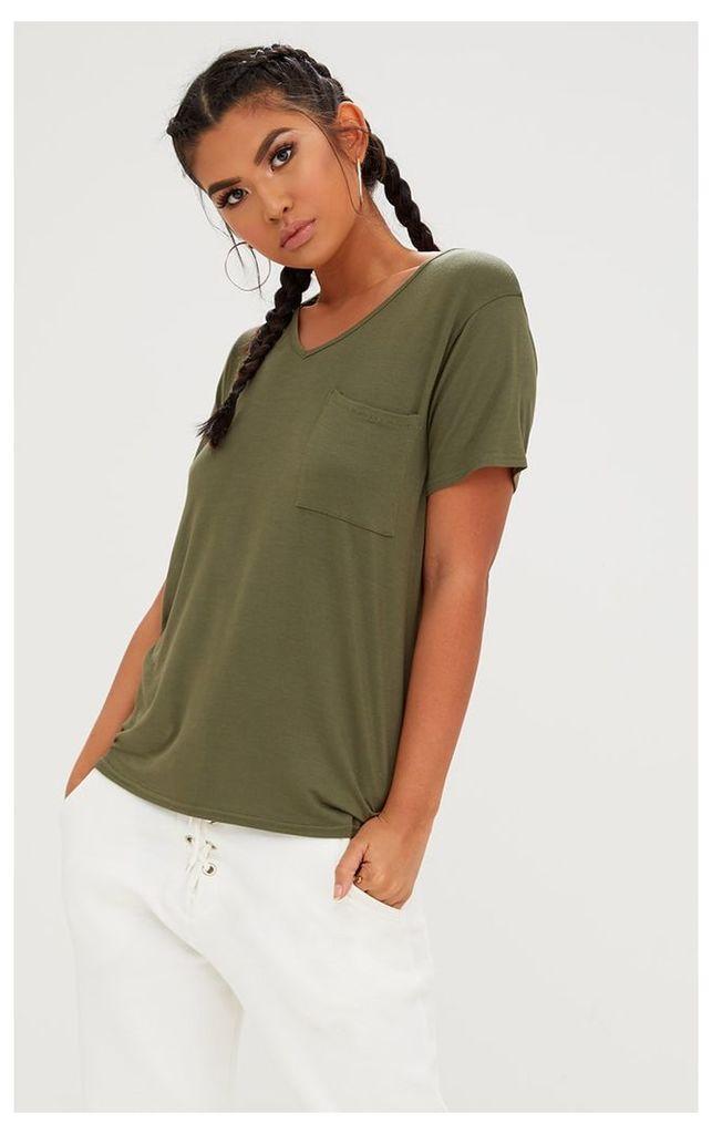 Khaki Basic V Neck Pocket T Shirt