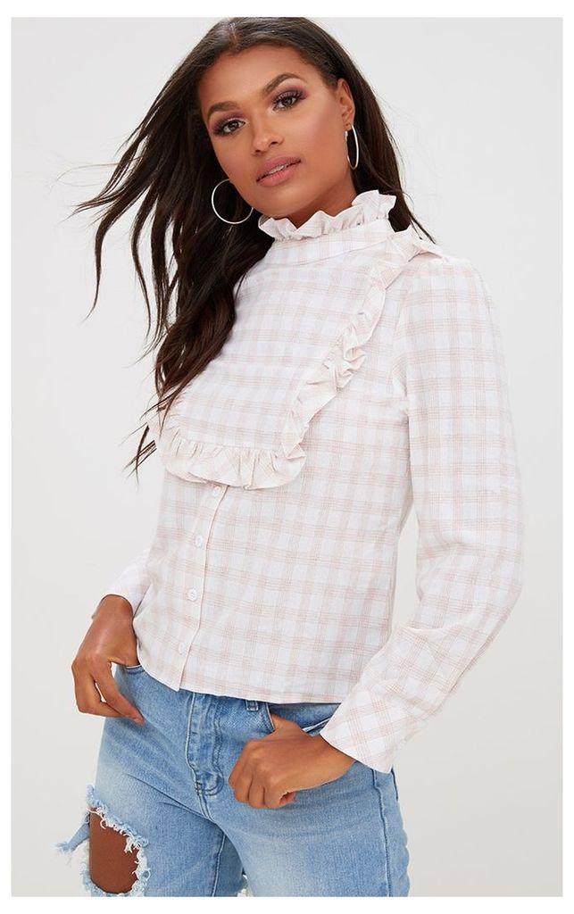 Pink Check Frill Neck Shirt