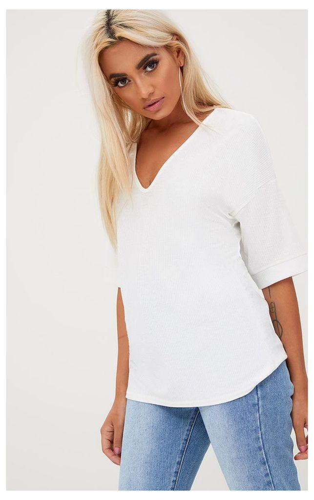White Ribbed Oversized T Shirt