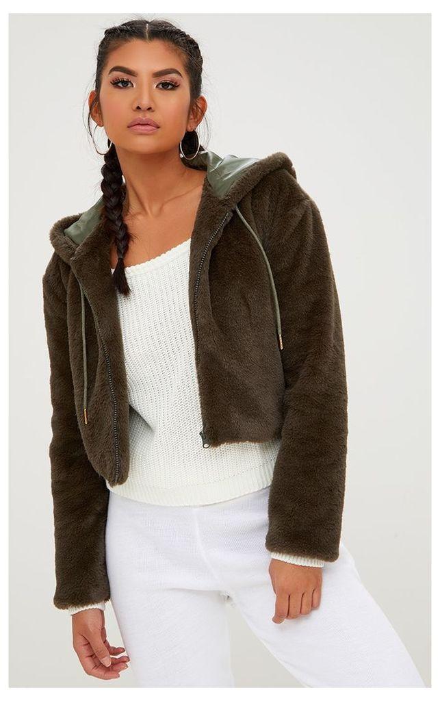 Khaki Cropped Fur Jacket With Hood