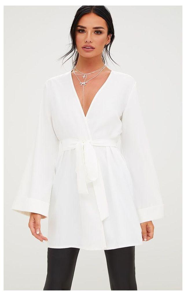 White Oversized Longline Blazer