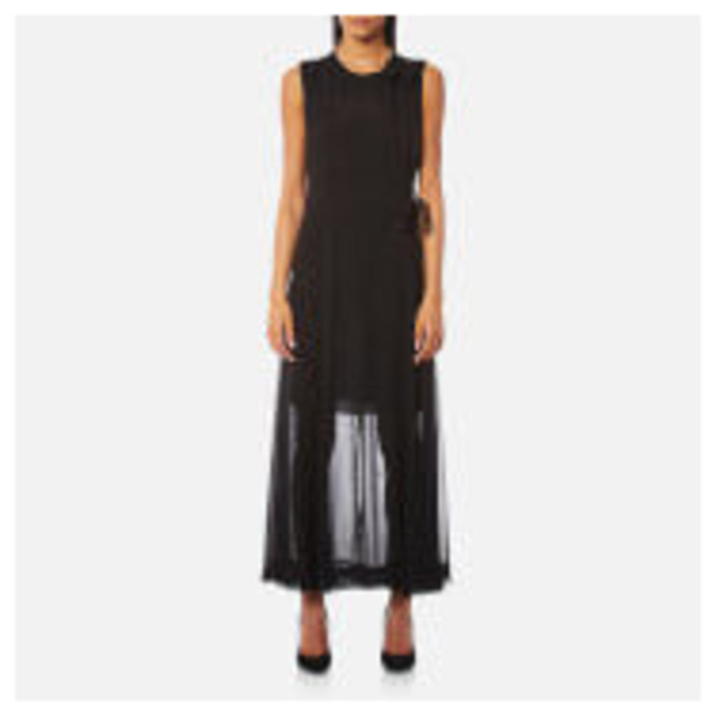 Diane von Furstenberg Women's Sleeveless High Neck Tie Flare Dress - Black