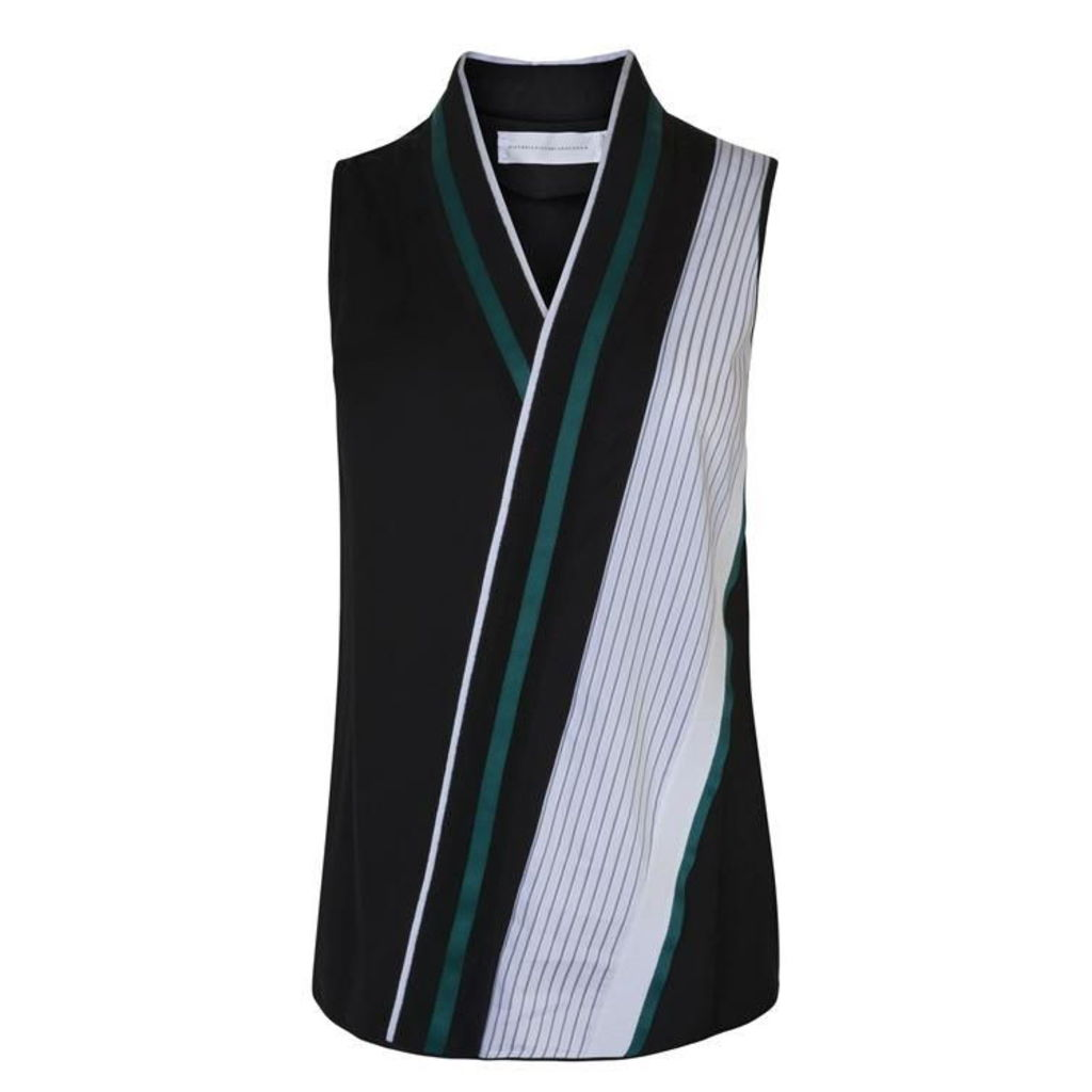 VICTORIA BY VICTORIA BECKHAM V Neck Fluid Striped Vest