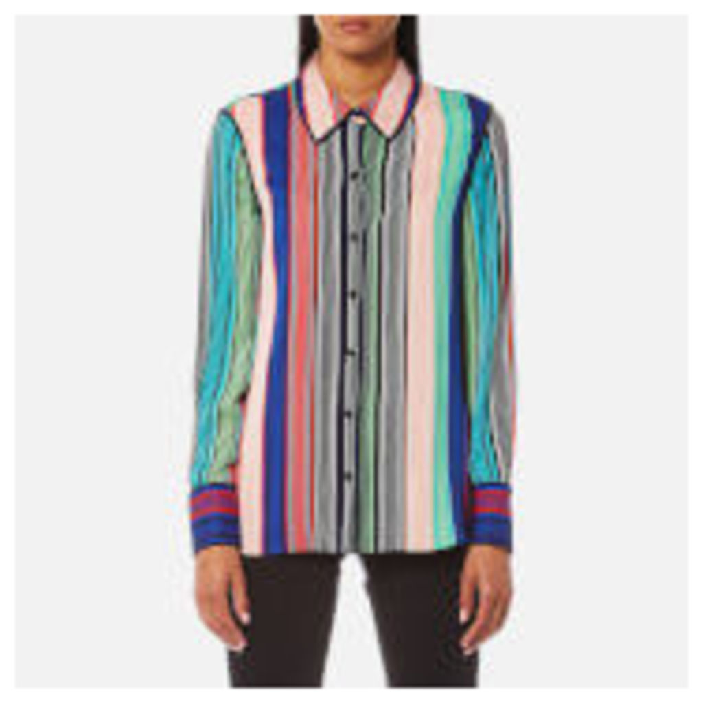 Diane von Furstenberg Women's Long Sleeved Collared Shirt - Burman Stripe