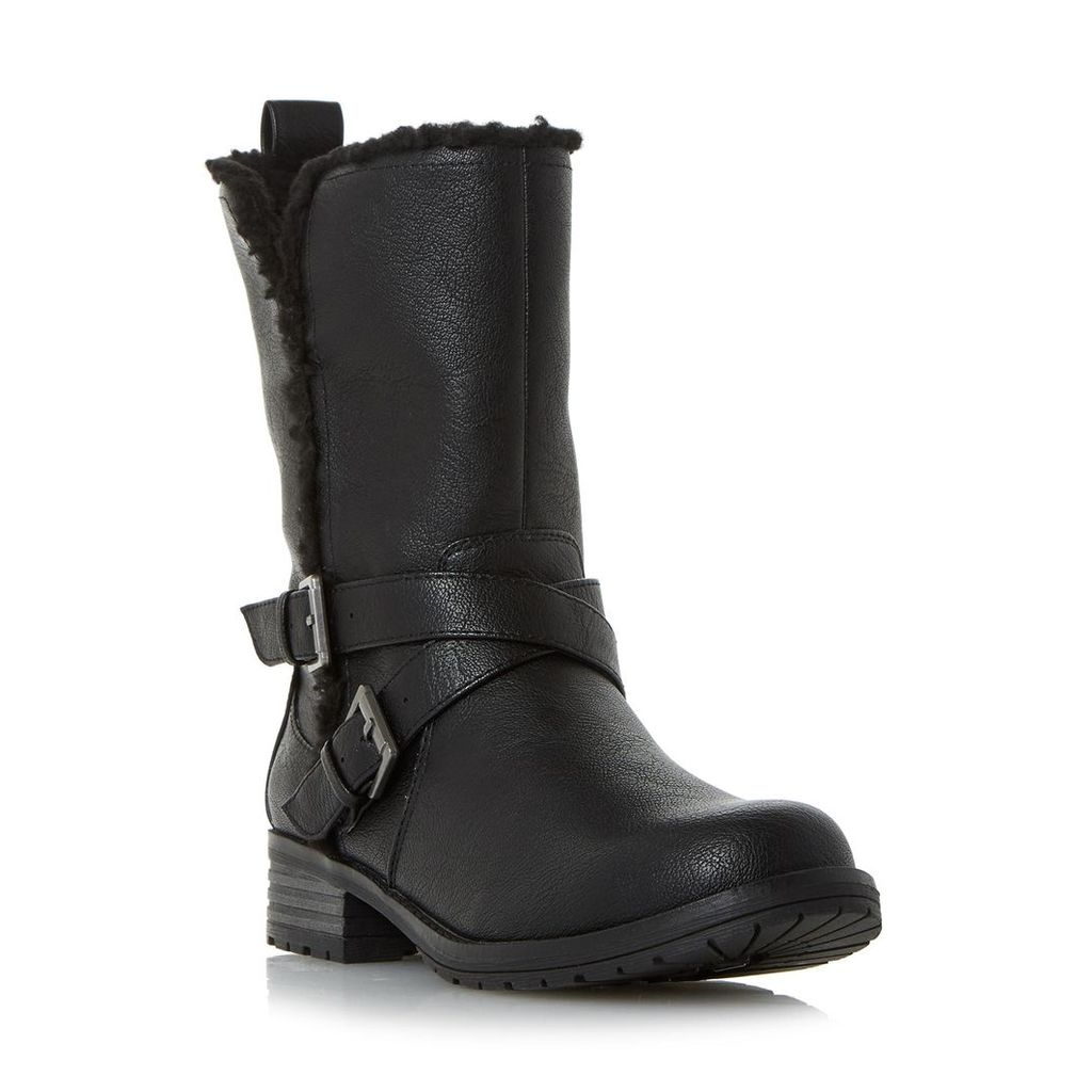 Reecey Buckle Strap Biker Calf Boot