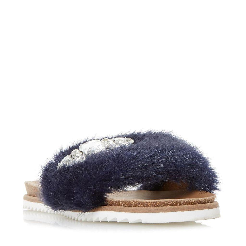 Lyra Faux Fur Gem Slider Sandal