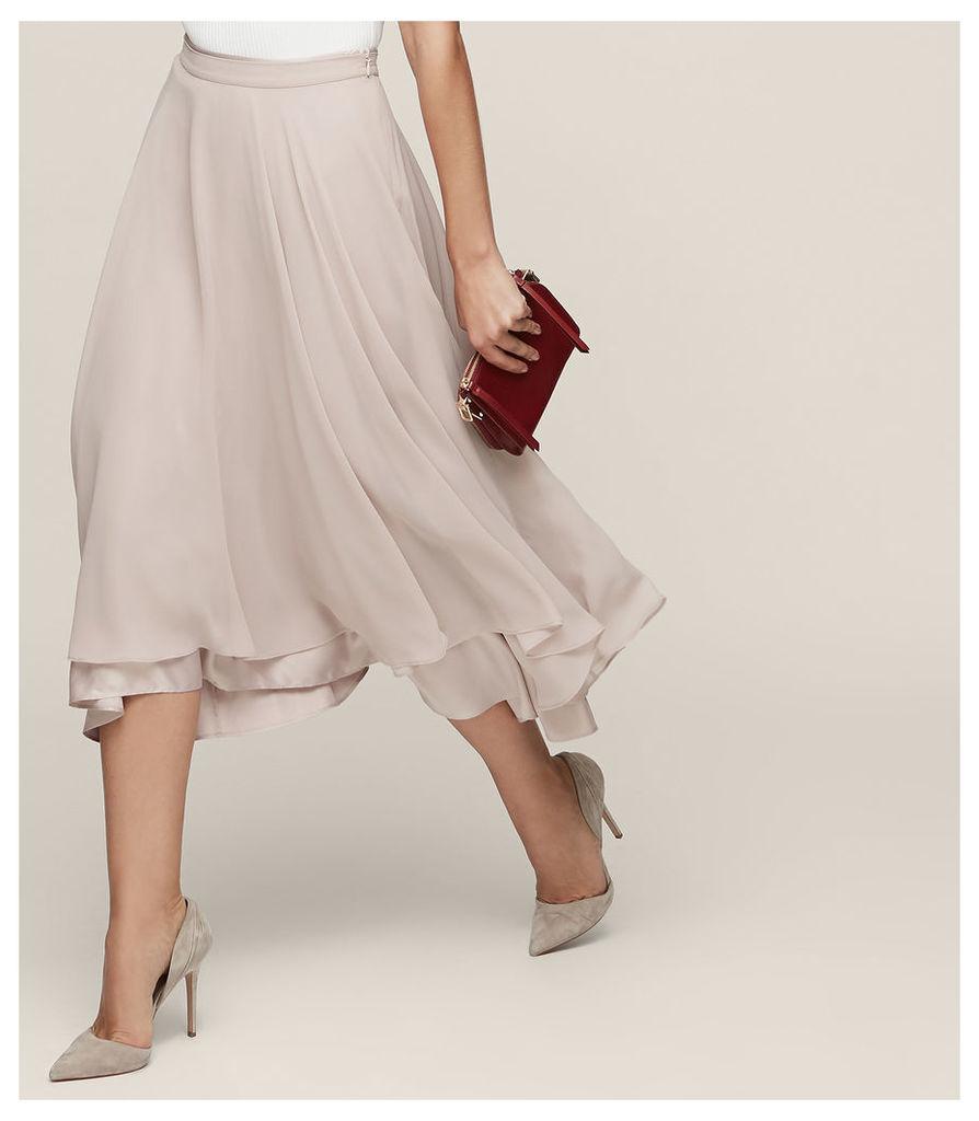REISS Spence - Asymmetric Midi Skirt in Grey, Womens