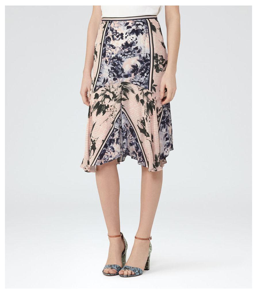 REISS Penelope - Floral Silk Skirt in Pink, Womens