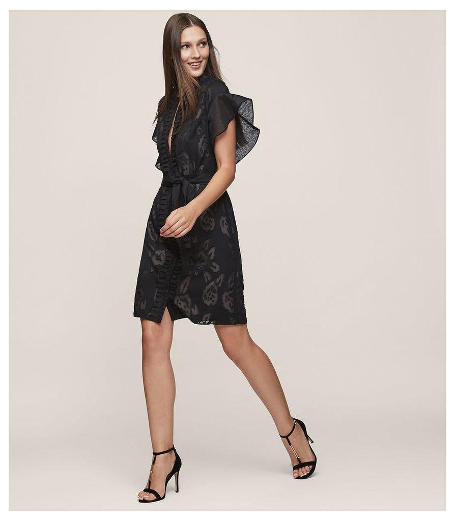 REISS Mara - Ruffle-sleeve Dress in Black, Womens