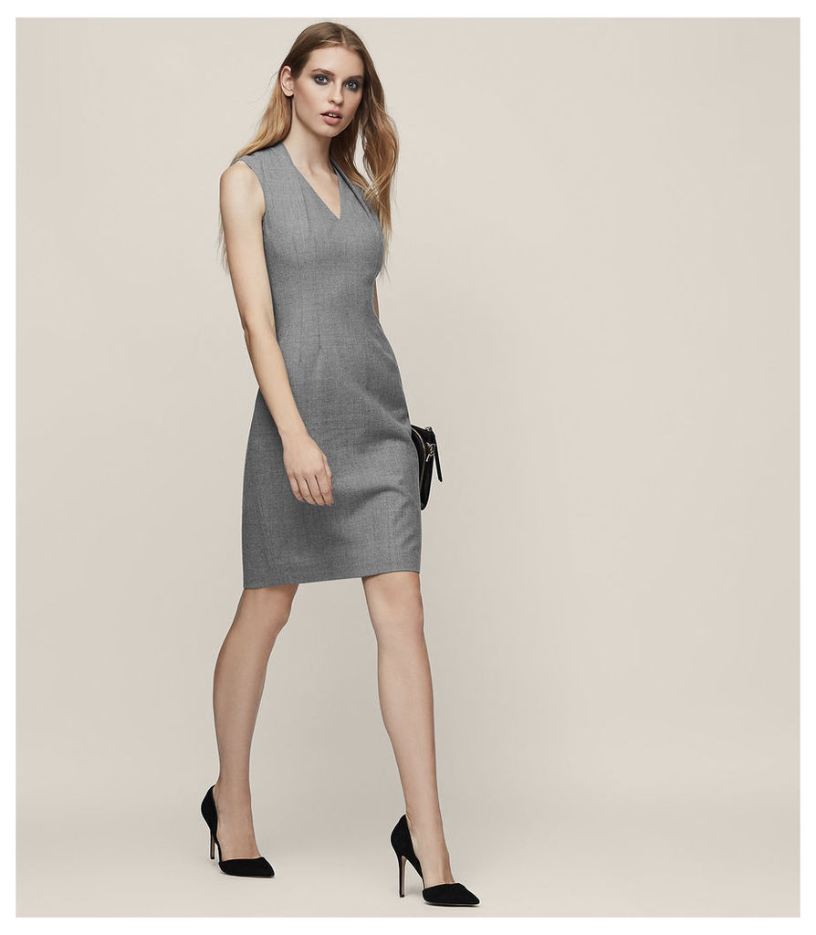 REISS Austin Dress - Tailored Dress in Grey, Womens