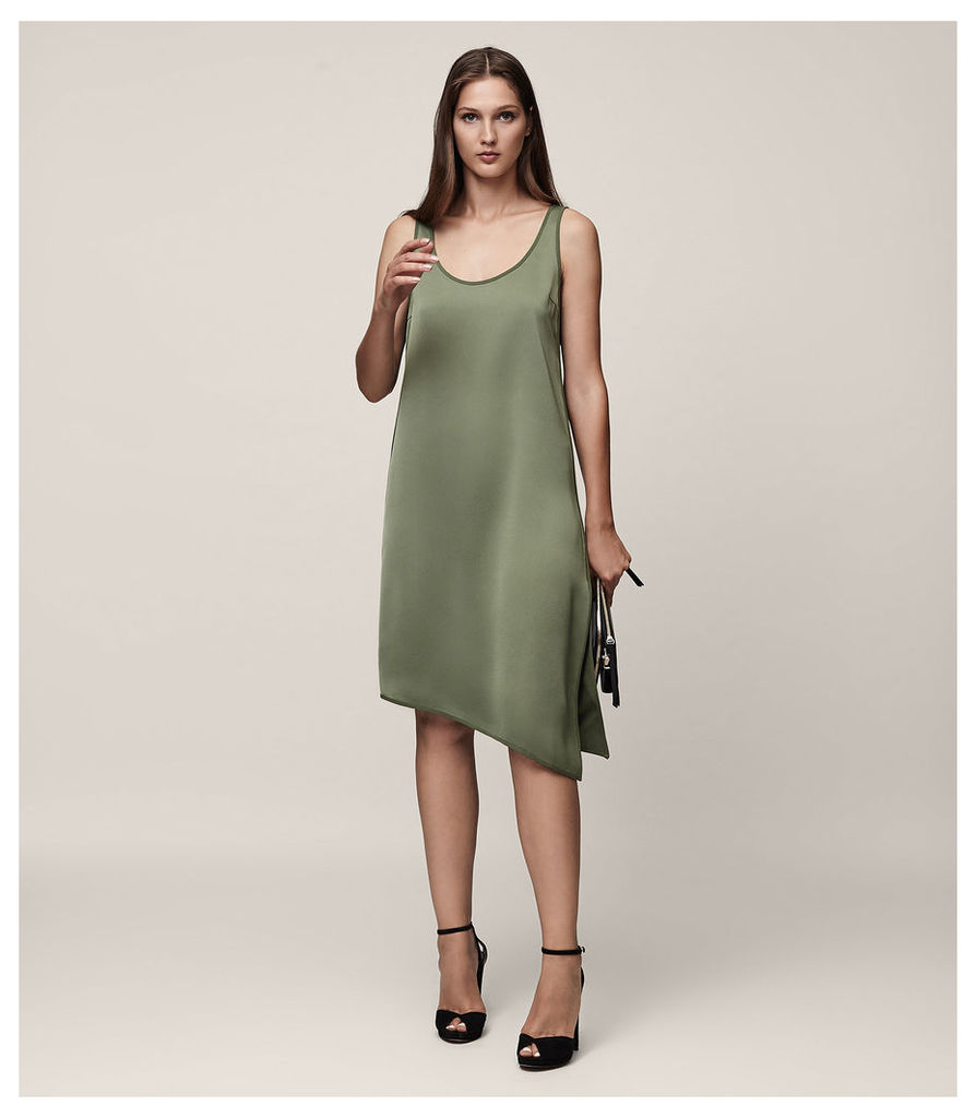 REISS Melody - Satin Slip Dress in Green, Womens