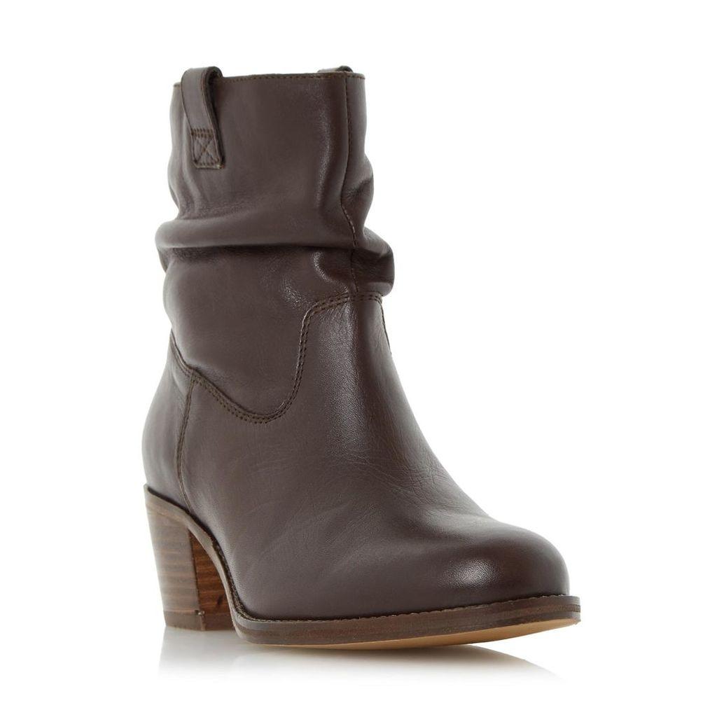Politt Ruched Detail Block Heel Ankle Boot