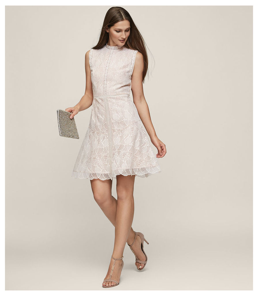 REISS Tori - Lace Fit And Flare Dress in Soft Yarn, Womens